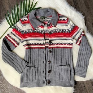 Eddie Bauer fair isle turtle neck cardigan